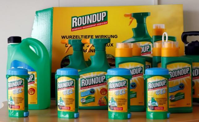 Monsanto's Roundup weedkiller atomizers are displayed in the company headquarters in Morges, Switzerland, May 25, 2016.